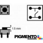 Botão 6x6x(1,5)mm, horizontal, 4 pinos