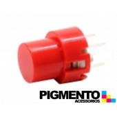 Botão de pressão monoestável com capa vermelha para PCB