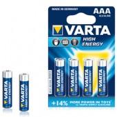 Pilas Alcalinas Varta Energy LR3 AAA 1.5V 1100mAh - Pack 4Un