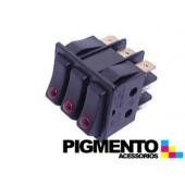 INTERRUPTOR TRIPLO 35X30 TECLA NEGRA C/ LED VERM. (9 T)